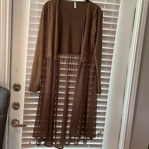 Pink Blush open front long duster cardigan large